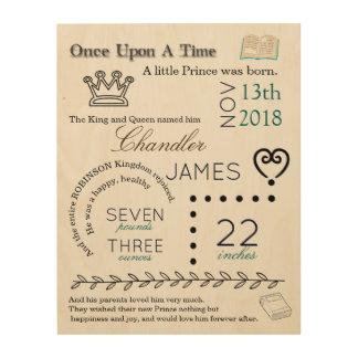 Story Book Prince Newborn Birth Stat Wood Art