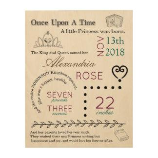 Story Book Princess Newborn Birth Stat Wood Art
