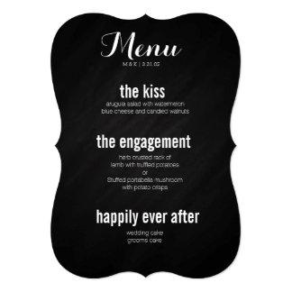 """Story of love chalkboard menu 5"""" x 7"""" invitation card"""