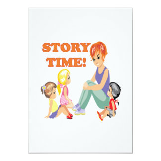 """Story Time 3 5"""" X 7"""" Invitation Card"""