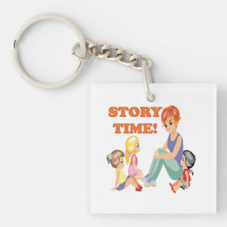 Story Time 3 Double-Sided Square Acrylic Keychain