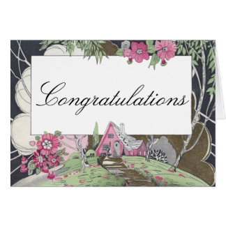 Storybook Cottage New Home Congratulations Card