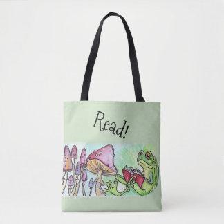 Storybook Frog Reading Tote Bag
