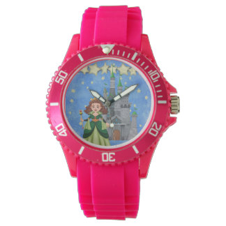 Storybook Princess in Green With Castle and Stars Watch