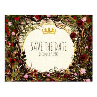 Storybook Princess Vintage Briar Rose Save Date Postcard