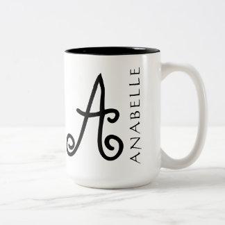 Storybook Style Girly Swirly Monogram Two-Tone Coffee Mug