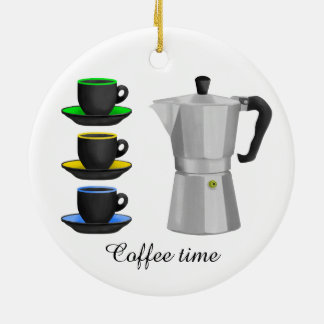 Stove Top Espresso Make And Cups Pattern Round Ceramic Ornament