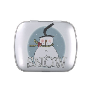 Stovepipe Hat Snowman Tins and Jars w. Candy