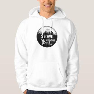 Stowe Vermont black white snowboard guys hoodie