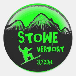 Stowe Vermont bright green snowboard art stickers