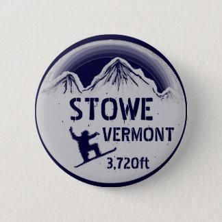 Stowe Vermont navy blue snowboard art button