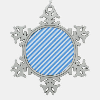 [STR-BLU-01] Blue candy cane striped Pewter Snowflake Ornament