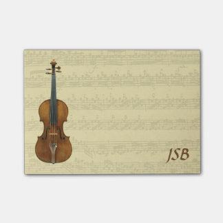 Stradivari Violin Bach Partita Manuscript Monogram Post-it Notes