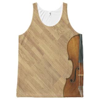 Stradivari Violin on Wood Panel Effect All-Over-Print Tank Top