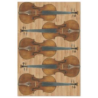Stradivari Violin Quintet on Wood Panel Effect Tissue Paper