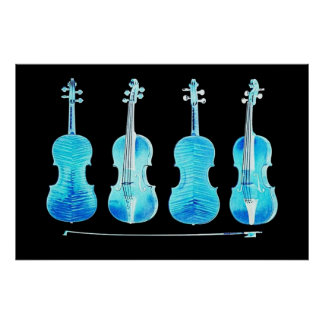 stradivarius violins and bow blue poster FROM 8 99