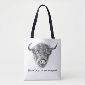 Straggly Wee Highland Cow Tote Bag