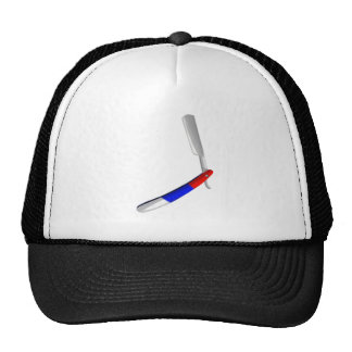 Straight Blade Cut Throat Razor Red White And Blue Trucker Hat