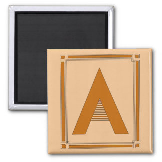 Straight lines art deco with monogram, letter A Square Magnet