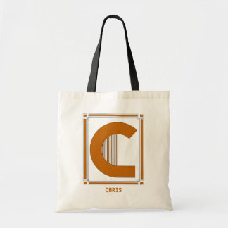 Straight lines art deco with monogram, letter C