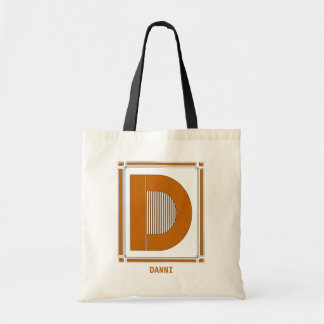 Straight lines art deco with monogram, letter D