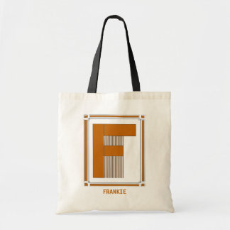 Straight lines art deco with monogram, letter F
