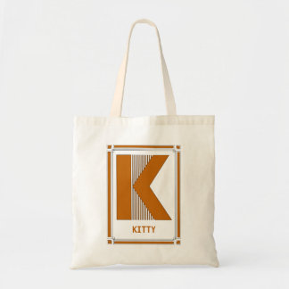 Straight lines art deco with monogram, letter K