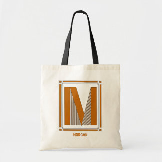 Straight lines art deco with monogram, letter M