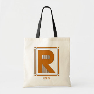 Straight lines art deco with monogram, letter R