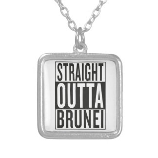 straight outta Brunei Silver Plated Necklace