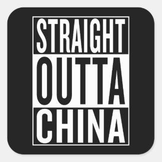 straight outta China Square Sticker