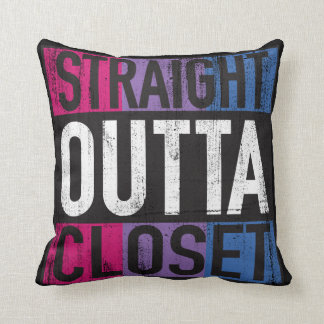 Straight Outta Closet Parody LGBT Bisexual Throw Pillow