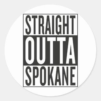 straight outta Spokane Classic Round Sticker