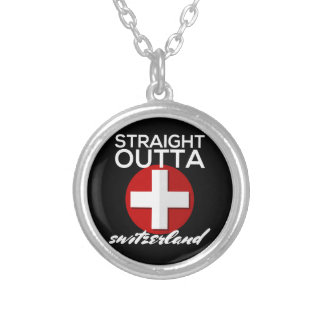 STRAIGHT OUTTA SWITZERLAND SILVER PLATED NECKLACE