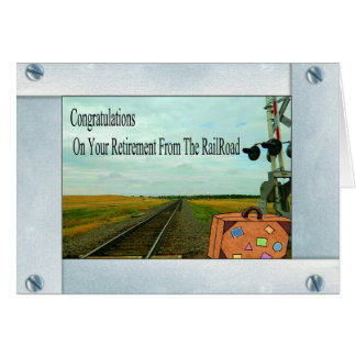 Straight Railroad Tracks and Crossing with a Bag Card