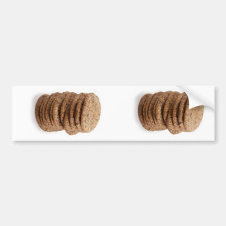 Straight stack of cookies on a white background bumper sticker