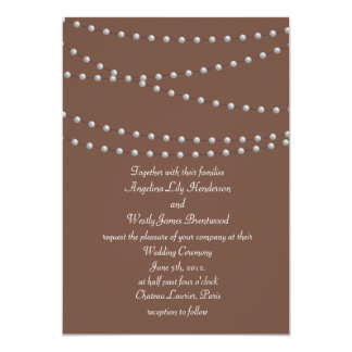 Strands of Pearls on Brown Wedding Invitation