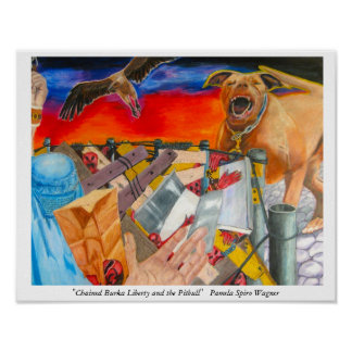 Strange and Mysterious Art of chained figure+dog Poster