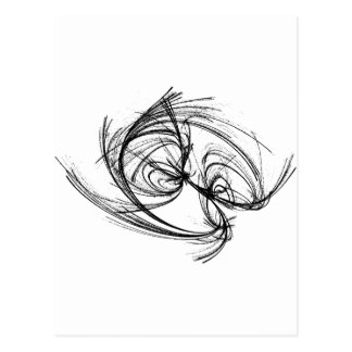 Strange attractor black and white abstract postcard
