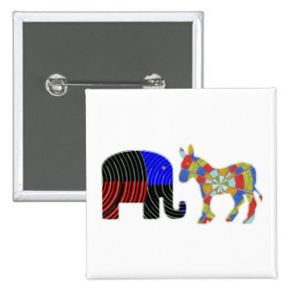 Strange Bed Fellows : POLITICS Elephant n Donkey 2 Inch Square Button