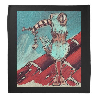 strange bird top on the roof sweet illustration bandana