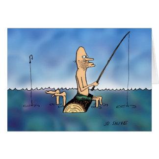 Strange Day Fishing Cartoon Blank Inside Card