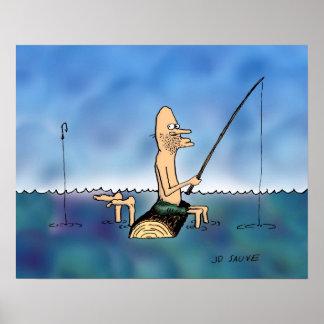 Strange Day Fishing Cartoon Poster