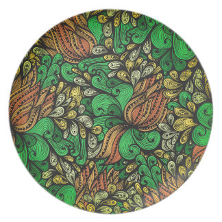 strange flower pattern party plate