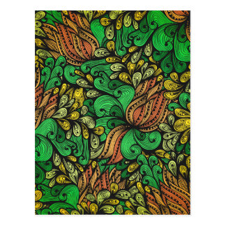 strange flower pattern postcard