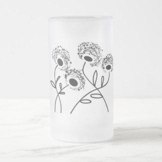 strange flowers frosted glass beer mug