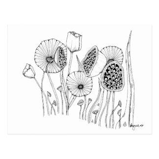 'strange flowers' postcard