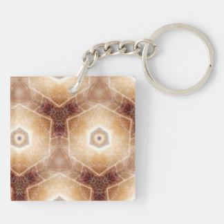 Strange hexagon shapes pattern Double-Sided square acrylic keychain