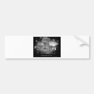 Strange Route 66 Giganticus Headicus with UFO desi Bumper Sticker