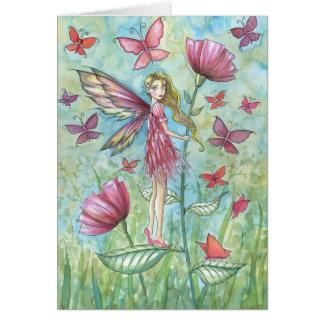 Strange Summer Poppies Fairy Butterfly Art Card